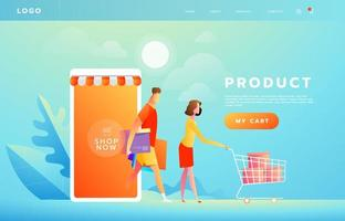 Online payment using application concept with couple shopping on smartphone. Purchases on internet. Commerce advertising illustration. vector