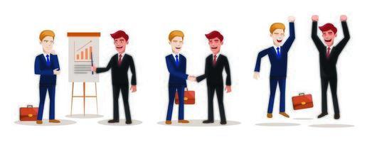 conjunto de empresarios en el trabajo, situaciones diversas. empresario presenta proyecto, proceso de trabajo, reunión y salto para un trabajo exitoso. vector