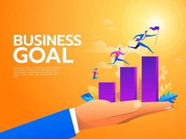 gente de negocios plana subiendo las escaleras. escalera de carrera con personajes. trabajo en equipo, asociación, concepto de liderazgo. ilustración vectorial. vector