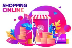 A couple and smartphone with percent discount icon on the screen. Smart retail, retail mobility solutions and smart city concept, violet and red palette. Vector illustration on background.