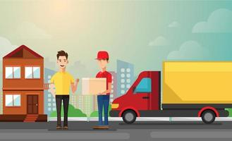 handsome man getting package from courier. Cartoon people characters. Young smiling man dressed in working uniform. Delivery service. House facade. Flat vector design.