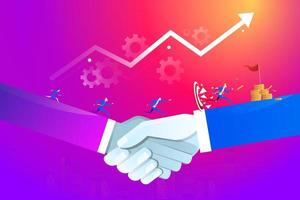 Teamwork Concept. Business people running on handshake towards the goal. Business vector illustration