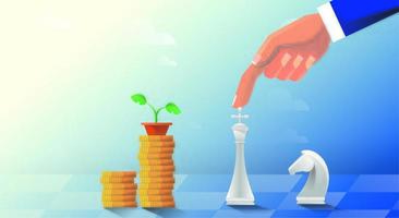Man plays chess in the form of world currencies. Stock exchange and making money. Strategy and development of broker business. Vector illustration
