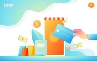 Shopping online and payment online concept. Internet payments, protected money transfer, online bank vector illustration.