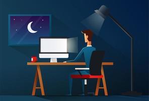 hombre de negocios trabajando hasta tarde en la noche. concepto de carga de trabajo - ilustración vectorial vector