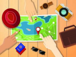 Hands of travelers pointing at map for planing trip. Bag, passports, camera, hat and sunglasses. All you need for traveling concept. vector