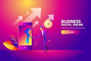 Flat design isometric vector concept with man and woman shaking hands through mobile screen for business mobile network connections, e-mail marketing, people chatting