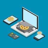 Buy Pizza Online Isometric vector