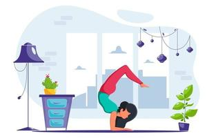 Woman doing yoga at home in loft interior Healthy lifestyle vector
