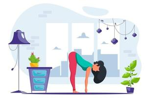Woman doing yoga exercise at home in cozy interior vector