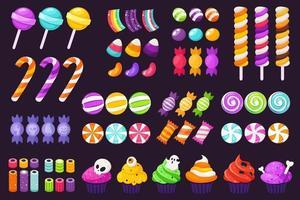 Big set of halloween sweets and candies vector