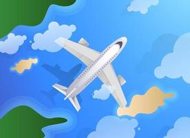 Top view of plane or jet aircraft flying over island and ocean. Summer travel or tourism agency theme vector