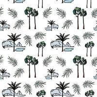 Floral seamless pattern  tropical trees and leaves Vector illustration in hand drawn style