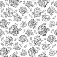 Seamless pattern with black and white gerberas and leaves Floral endless background for seasonal spring and summer designs vector