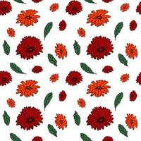 Seamless pattern with bright colored gerberas and leaves Floral endless background for seasonal spring and summer designs vector