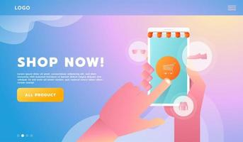 Hand Shopping online business concept flat style. Lanidng page for workflow vector
