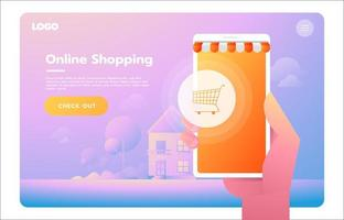 E-commerce, electronic business, online shopping, payment, delivery, shipping process, sales. Website or landing page concept vector