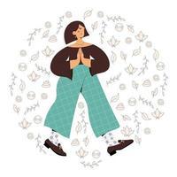 Mindful walking girl vector