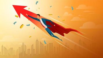 Business concept, super businessman with growing arrow and currency. vector