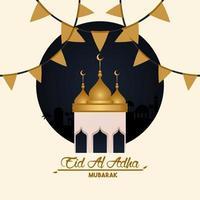 eid al adha celebration card with mosque cupule vector