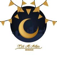 eid al adha celebration card with moon and garlands vector