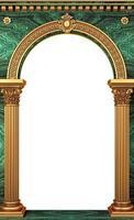 Portal de arco clásico de lujo dorado con columnas. foto