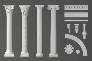 Classic white antique marble columns set photo