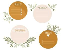 Set of round note papers with spring leaves elements Collection of weekly or daily planner to do list stickers templates Flat vector
