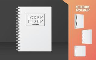 notebook mockup color white icon vector