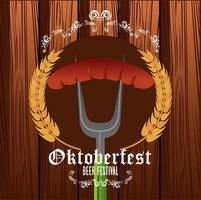 cartel del festival de celebración del oktoberfest con salchicha en tenedor y picos vector