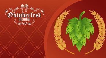 cartel del festival de celebración del oktoberfest con espigas de cebada vector