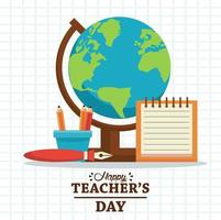 happy teachers day card with lettering and supplies vector
