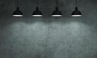 Gray wall concrete monolithic background with lamps photo