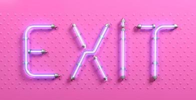 Banner pop art word exit pink neon photo
