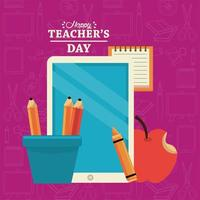 happy teachers day card with tablet elearning and pencils holders vector