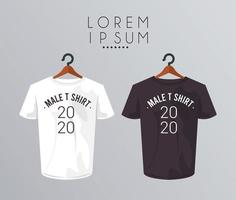 mockup shirt in clothespin and 2020 number vector