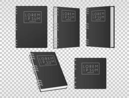 five notebooks mockup color black icons vector