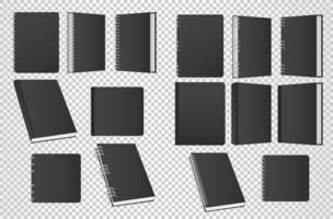 set of books and notebooks mockup color black icons vector