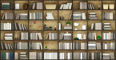 3D illustration of wooden wall background with books photo