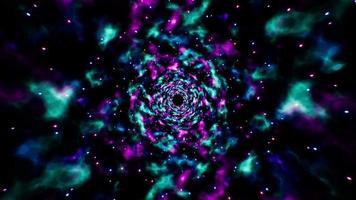 efecto de nebulosa espacial de neón abstracto 4k video