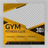 anuncio de publicación de plantilla de banner cuadrado de club de fitness de gimnasio vector