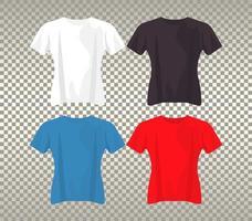 four mockup shirts set colors vector