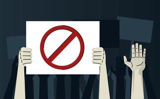 hands human protesting lifting banner stop signal vector