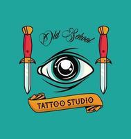 Ojo humano con dagas gráfico de estudio de tatuajes vector