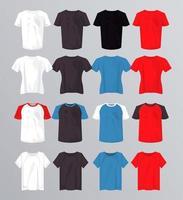 sixteen mockup shirts set colors vector