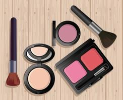 make up cosmetics in wooden background vector