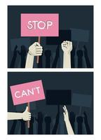 hands people protesting lifting banners with stop and cant words scenes vector
