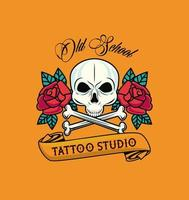 skull head with bones crossed and roses flowers tattoo studio graphic vector