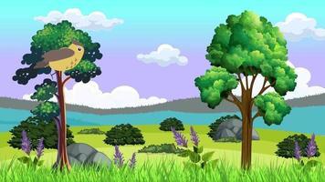 el pájaro vuela sobre la llanura verde video