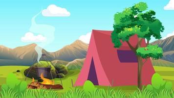 acampar perto da árvore na planície video